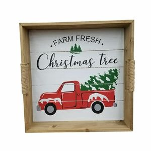 Farm Fresh Christmas Tree Red Truck Wood Tray